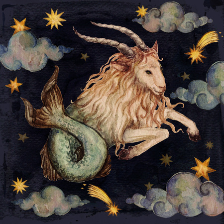 Zodiac sign - Capricorn. Watercolor Illustration.
