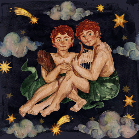 Zodiac sign - Gemini. Watercolor Illustration. 스톡 콘텐츠