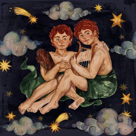 Zodiac sign - Gemini. Watercolor Illustration. Stock Photo