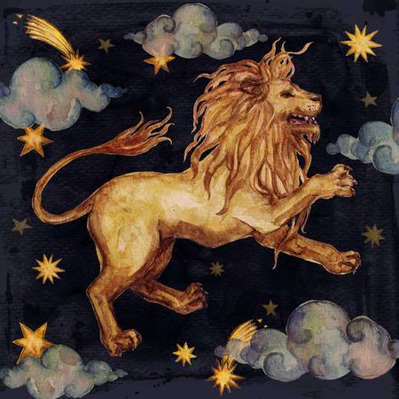 Zodiac sign - Leo. Watercolor Illustration. Isolated. Stock Photo