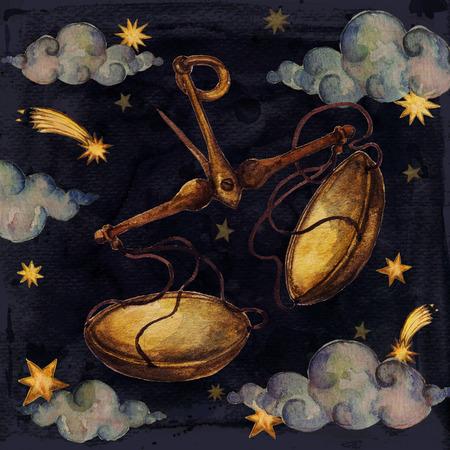 Zodiac sign - Libra. Watercolor Illustration. Isolated.