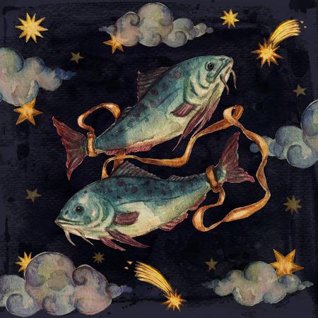 Zodiac sign - Pisces. Watercolor Illustration.