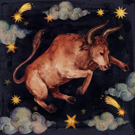 Zodiac sign - Taurus. Watercolor Illustration. 写真素材