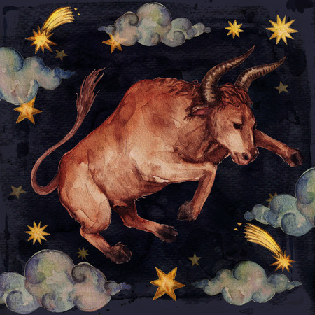 Zodiac sign - Taurus. Watercolor Illustration. 版權商用圖片