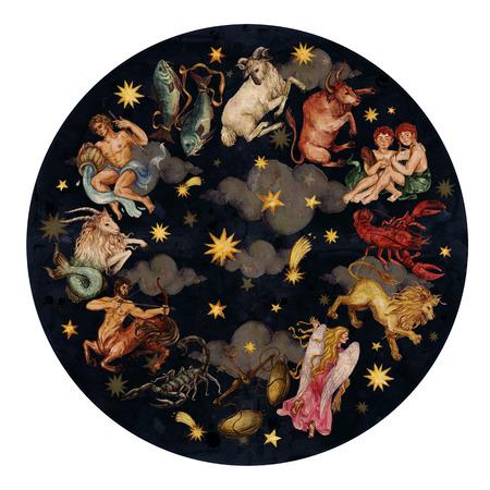 Zodiac cirkel - complete set van 12 tekens. Waterverf Illustratie.