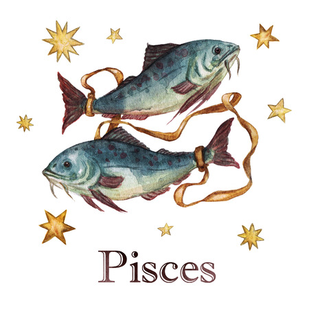 pisces: Zodiac sign - Pisces. Watercolor Illustration.