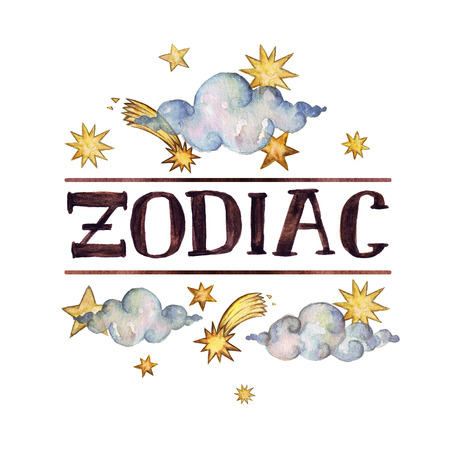 -Zodiac- writing on white background. Watercolor Illustration. Isolated.