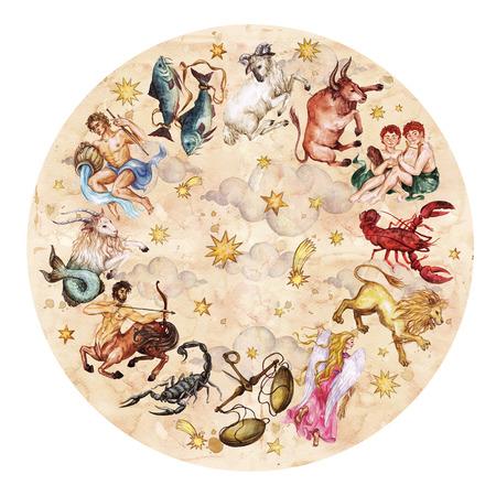 Zodiaco círculo - juego completo de 12 muestras. Ilustración de la acuarela.