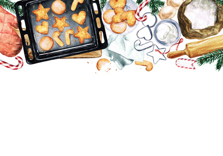 shortbread: Baking Cookies. Watercolor Illustration with blank space for text. Stock Photo