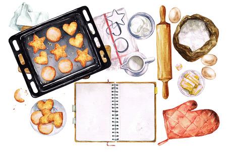 ustensiles de cuisine: Les cookies de cuisson. Aquarelle Illustration avec espace pour le texte.