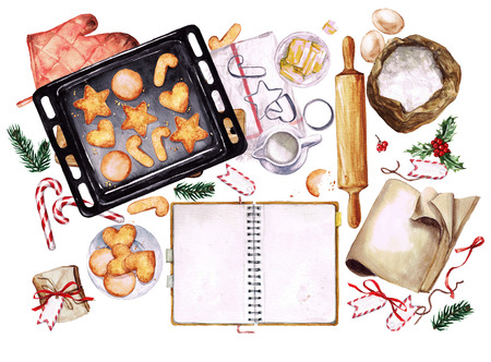 christmas cookie: Baking Cookies. Watercolor Illustration with blank space for text. Stock Photo