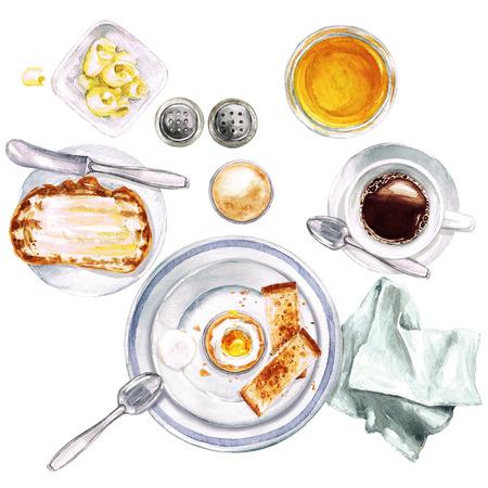 朝食。水彩イラスト。