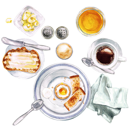lunch table: Breakfast. Watercolor Illustration.