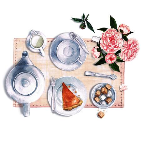 setting table: Breakfast. Watercolor Illustration.