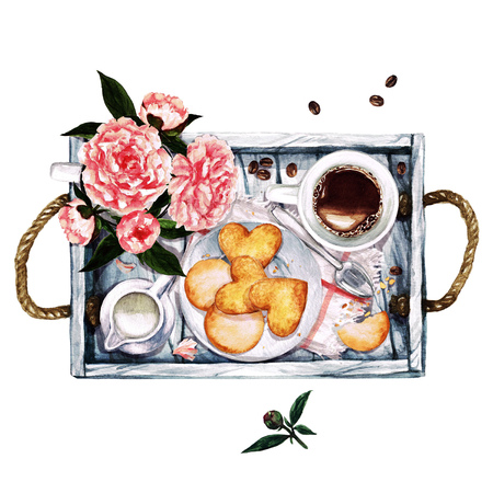 Breakfast. Watercolor Illustration. Фото со стока - 66984909