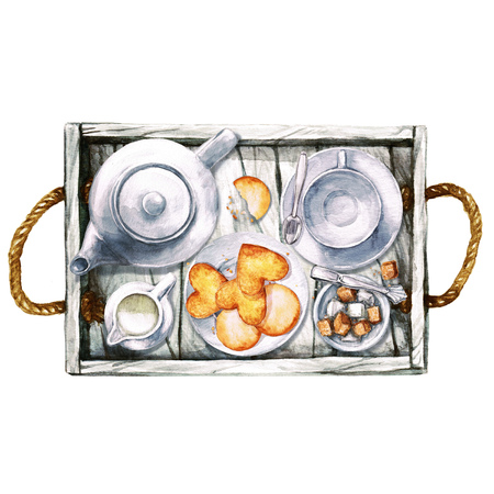 sugar cube: Breakfast. Watercolor Illustration.