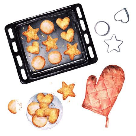 Baking Cookies. Watercolor Illustration.