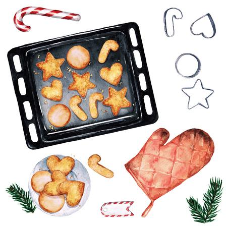 galletas de navidad: Hornear galletas de Navidad. Ilustración de la acuarela. Foto de archivo