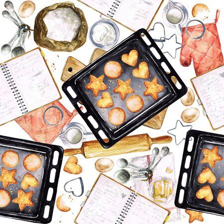 utensils: Baking Cookies. Watercolor seamless pattern.