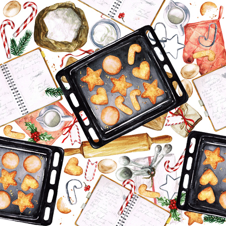 Baking Christmas Cookies. Watercolor seamless pattern. Stock Photo - 67827814