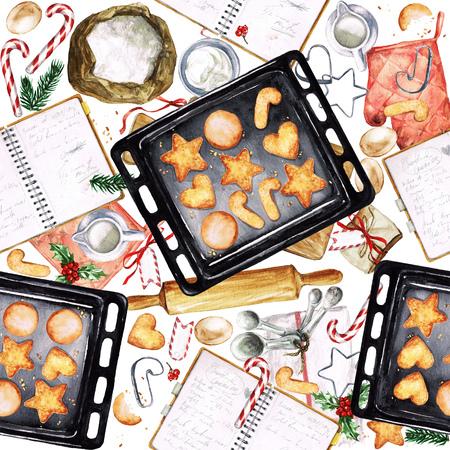shortbread: Baking Christmas Cookies. Watercolor seamless pattern.
