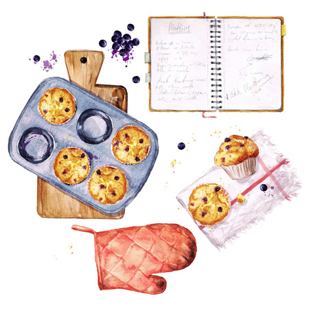 Baking Blueberry Muffins. Watercolor Illustration.