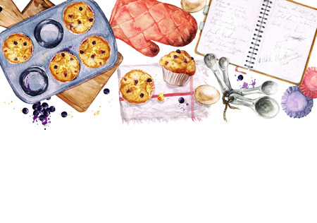 utensils: Baking Blueberry Muffins. Watercolor Illustration with blank space for text.