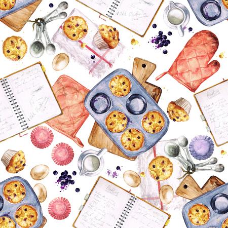 muffins: Baking Muffins. Watercolor seamless pattern.
