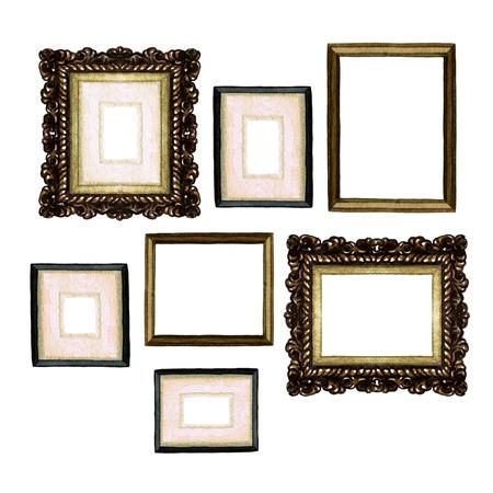 Picture Frames - Watercolor Illustration. Banque d'images
