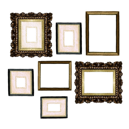living room design: Picture Frames - Watercolor Illustration. Stock Photo