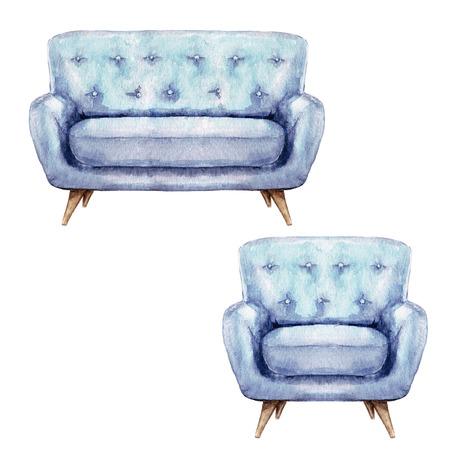 Blaues Sofa und Sessel - Aquarell Illustration. Standard-Bild - 70168543