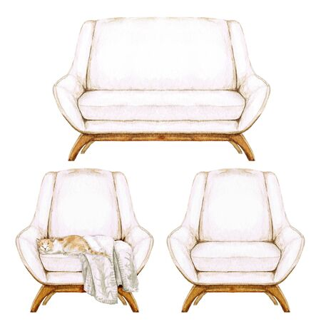 Beige Sofa and Armchairs with and without throw blanket - Watercolor Illustration.