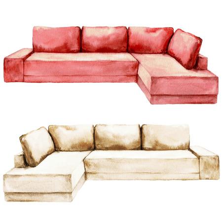 Rotes und beige Sofa - Aquarell-Illustration. Standard-Bild - 70168542