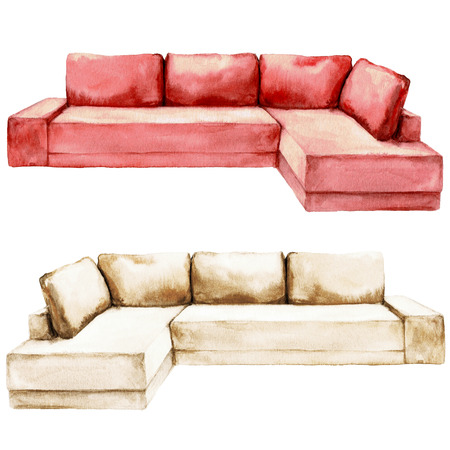 Red and Beige Sofa  - Watercolor Illustration. Stock Photo