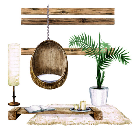 table lamp: Living Room Interior with Natural Neutral Design - Watercolor Illustration.