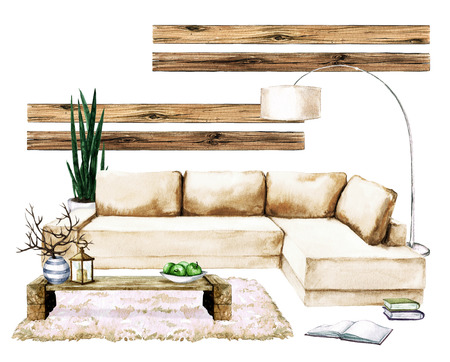 Living Room Interior with Natural Neutral Design - Watercolor Illustration. Stock Illustration - 70254961