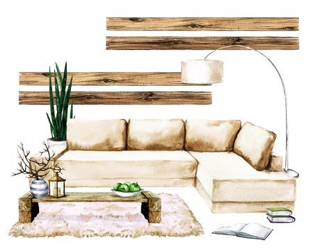 Wohnzimmer Interieur mit natürlichen neutralen Design - Aquarell Illustration Standard-Bild - 70254961