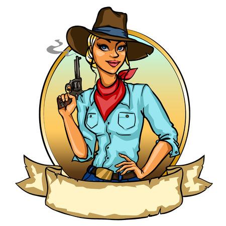 smoking woman: Pretty Cowgirl holding smoking gun, isolated on white