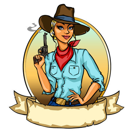 Pretty Cowgirl holding smoking gun, isolated on white