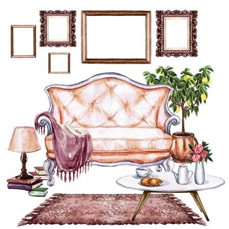 Living Room with Bohemian Chic Interior - Watercolor Illustration. Stock Photo