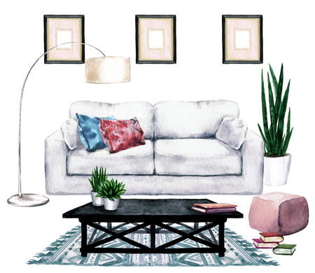 modern living room: Living Room Design with Natural Neutral Interior - Watercolor Illustration.