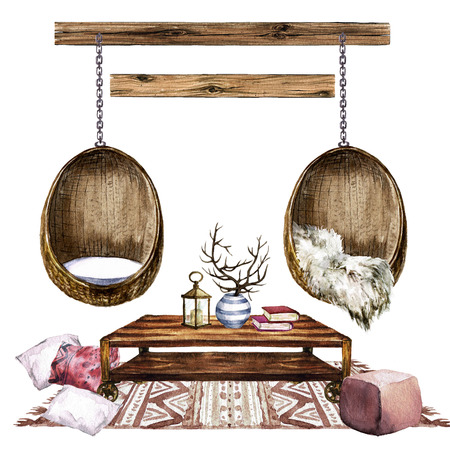 living room design: Living Room Design with Rustic Chic Interior - Watercolor Illustration.