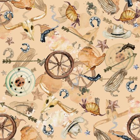 hillbilly: Wild West. Watercolor seamless pattern Stock Photo