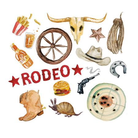 hillbilly: Rodeo Season. Watercolor Illustration Stock Photo