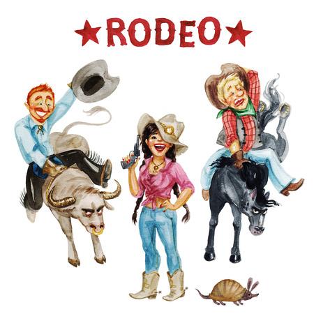 vaqueritas: Los vaqueros y vaqueras. Ejemplo de la acuarela