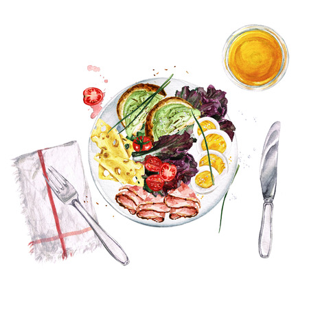 Breakfast or lunch food platter. Watercolor Illustration 스톡 콘텐츠