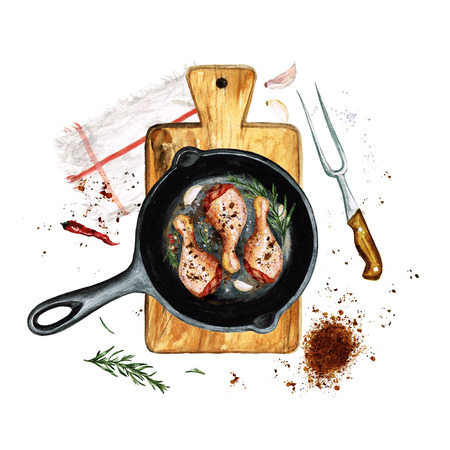 Chicken drumsticks in a frying pan. Watercolor Illustration