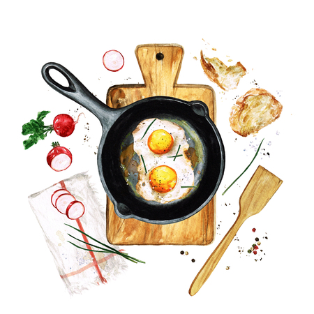 Eggs in a frying pan. Watercolor Illustration