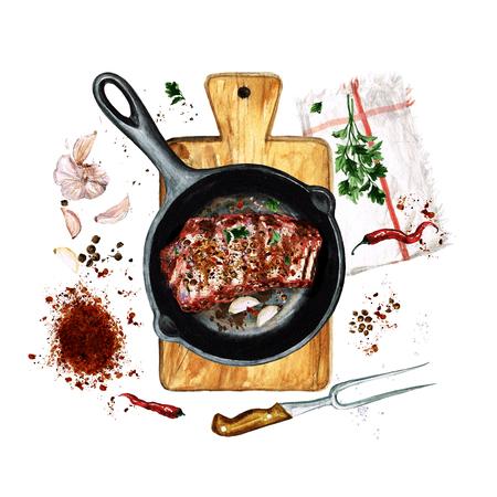 utensilios de cocina: Costillas en una sartén. Ilustración de acuarela