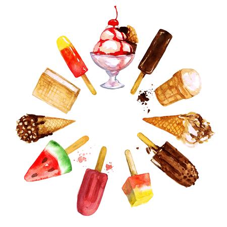Ice Cream Mix. Aquarel illustratie. Stockfoto